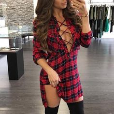 Plaid Lace-Up Side Slit Shirt Dress latest fashion apparel for you! We have dresses, tops, bottoms and swimwear for girls and ladies. Trend Fashion, Look Fashion, Autumn Fashion, Womens Fashion, Fashion Clothes, Dress Clothes, Dress Outfits, Fashion Dresses, Plaid Dress