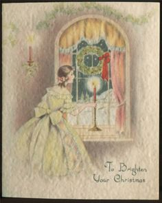 Vintage c1920s-30s Christmas Card ~ Fancy Lady Looking Out Window ~ Parchment