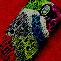 DIY phone case. Nail polish and glitter(: