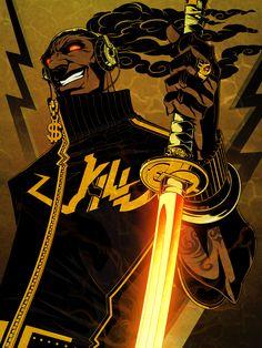View full-size (1667x2222 2,498 kB.) Fantasy Character Design, Character Design Inspiration, Character Concept, Character Art, Afro Samurai, Samurai Art, Black Cartoon Characters, Cartoon Art, Black Comics