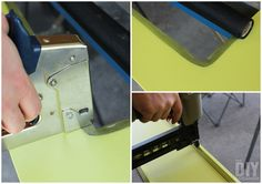 Attaching screen to a door with a staple gun. Then using a nail gun to attach moulding around the edge of the screen.