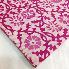 Dark Pink and White Indian fabric by yard. This is fabric is 100% cotton and can be used for Dresses, upholstery,...
