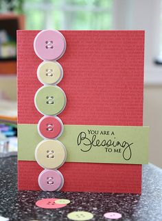 Made with paper buttons - easier to mail!