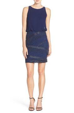 Aidan Mattox Beaded Fringe Blouson Dress available at #Nordstrom