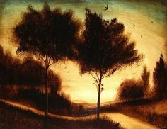 """Twin Trees at Twilight"" bitumen and TEMPERA on canvas Edward Walton Wilcox Twilight, Illustration Art, Tempera, Celestial, Sunset, Canvas, Awesome, 2d, Twin"