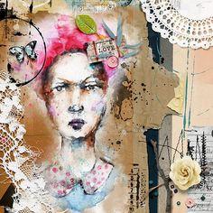 Inspired by love - Heartstrings Scrap Art - The Studio Community Digital Art, Art Kits, Inspiration, Painting, Art, Artsy, Assemblage, Altered Art, Mixed Media Art Journaling