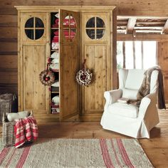 Fodera in lino Cottage Cabin Homes, Log Homes, Chalet Design, House Design, Cabins And Cottages, Winter House, Cottage Style, Living Spaces, Sweet Home