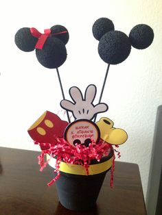 Made with styrofoam balls attached with toothpicks and my Mickey and friends cricut cartridge!