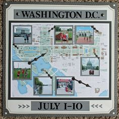 Washington DC scrapbook page map trip cover album Travel Scrapbook Pages, Scrapbook Cover, Vacation Scrapbook, Photo Album Scrapbooking, Disney Scrapbook, Scrapbook Albums, Scrapbook Cards, Scrapbooking Ideas, Scrapbook Designs