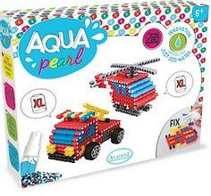 Aqua korálky, které se nezažehlují - umožňují dětem tvořit mozaiky i 3D modely, které stačí postříkat vodou a nechat je 20 minut schnout, až se spojí. Výsledný výrobek je natolik pružný, že se dá i ohýbat, cena 330 Kč.