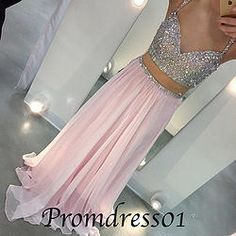 #promdress01 prom dresses - sparkly sweetheart neckline straps pink chiffon two pieces prom dress, 2015 ball gown, evening dress #coniefox #2016prom