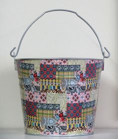 One of my large decoupage buckets in Boho Patchwork