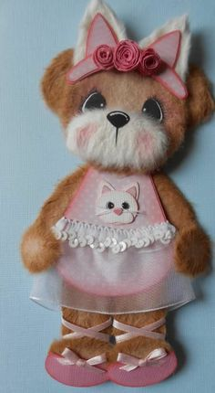 ELITE4U Premade BALLERINA KITTY Paper Piecing TEAR BEAR  3paperwishes