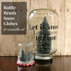 'A Casarella: Bottle Brush Snow Globe (lettering made with #PYP vinyl)