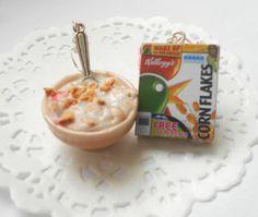 Handmade miniature polymer clay food jewelry - Breakfast milk with corn flakes earrings on Wanelo