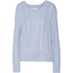 10 Crosby by Derek Lam - Cable-knit Wool Sweater (€185) ❤ liked on Polyvore featuring tops, sweaters, sky blue, cable knit sweater, woolen sweater, chunky cable sweater, blue top and wool cable sweater