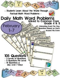 105 themed daily math factual word problems jan 1st 7th common