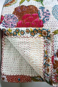 White Queen Bed Cover or White Floral Blanket by gypsya on Etsy, $108.00