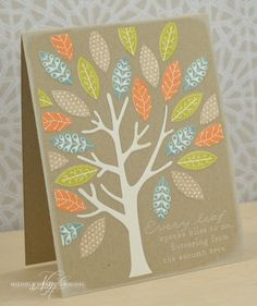 Every Leaf Card by Nichole Heady for Papertrey Ink (August 2013)