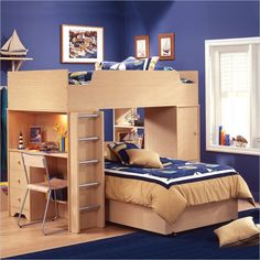 I'd love to find a non-particle board version, but for two kids sharing a room, I love the idea of an L-shaped bunk bed with a built in desk.