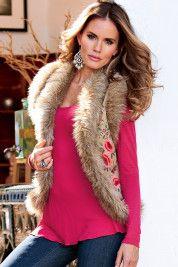 Embroidered plush vest    $129.00