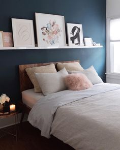 10 Ways to Live a More Minimal Life let go of clutter and gain some much needed mental clarity Shelf Above Bed, Above Bed Decor, Bed Shelves, Shelves In Bedroom, Bedding Master Bedroom, Gray Bedroom, Bedroom Wall, Bedroom Decor, Bedroom Ideas