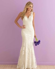 #Allure #Romance 2901 is perfection from the scalloped neckline down to the lacy hem.  allurebridals.com/blog