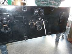 Footed Black Vintage Trunk — Fixed price $175