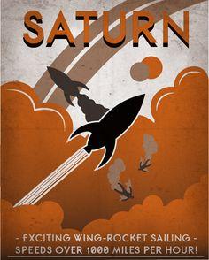 Retro Scifi Saturn Travel Poster   8x10 by IndelibleInkWorkshop, 16.00