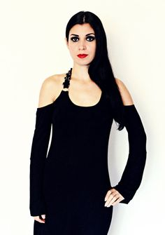 Black bell sleeve tunic top open shoulder witchy gothic clothing alternative apparel rocker chic dark style black metal witch kittyvamp