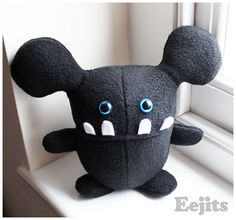 SALE Boris handmade quirky plush monster teddy soft by eejitstoys