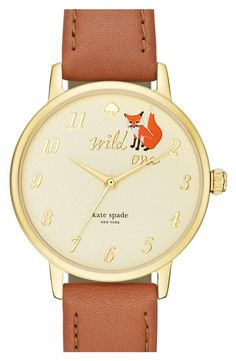 kate spade new york kate spade new york 'metro - wild one' leather strap watch, 34mm | Branded with an adorable fox graphic and a spade marking 12 o'clock, this elegant watch is fashioned with a radiant sunray dial and a textured leather strap. | $175.00
