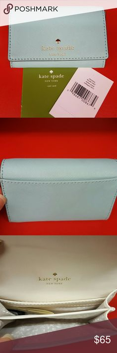 🎀NWT🎀 Kate Spade Mikas Pond Christine Card Case Kate Spade Christine Card Case in cross embossed leather.  Snap closure with 2 open pockets, 1 slide pocket and 1 exterior slide pocket. Color: Soft Aqua kate spade Bags Wallets
