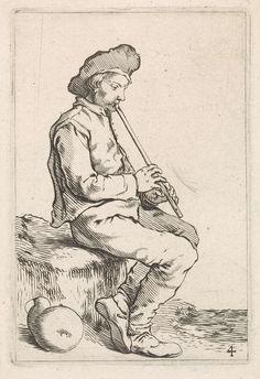 Cornelis Saftleven | Zittende jonge man met fluit, Cornelis Saftleven, 1645 |