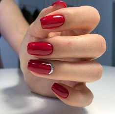 A manicure is a cosmetic elegance therapy for the finger nails and hands. A manicure could deal with just the hands, just the nails, or Red Gel Nails, Red Nail Art, Red Acrylic Nails, Manicure And Pedicure, My Nails, Red Manicure, Red Nails With Glitter, Red Sparkle Nails, Red And Silver Nails