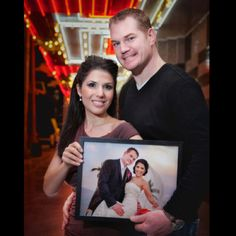 Love this idea: First anniversary pic holding pic of wedding.. Repeat every anniversary with pic from year before!