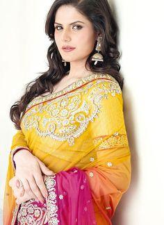 Zarine Khan - Yellow with Fuchia and Orange shaded Saree