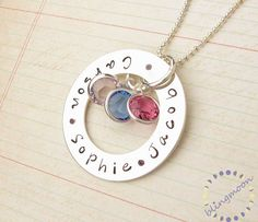 Personalized jewelry: mother daughter necklace circle charm