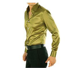 21 COLORS Silk Men's dress shirts Presided over the wedding groomsmen shirts
