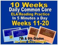 (Quick close reading passages in just 5 minutes a day.  10 weeks of grades 7 and 8 are combined in this one document.  Students quickly review character analysis, theme, plot structure, metaphors, similes, and more with these quick daily passages.  Keep literature skills sharp with this quick, daily review.  Excellent for test prep, literature programs, and more.