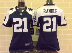 Women's Dallas Cowboys #21 Joseph Randle Thanksgiving Blue Stitched NFL Jersey