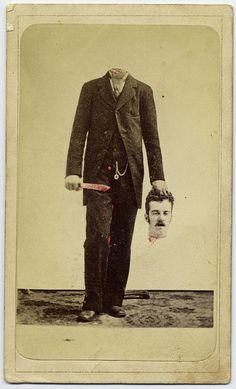 These creepy novelty photos demonstrate that Victorians had a weird sense of humor. Long before Photoshop, Victorian photographers combined images from [. Retro Halloween, Photo Halloween, Halloween Fotos, Halloween Pictures, Halloween Masks, Creepy Halloween, Happy Halloween, Halloween Halloween, Victorian Photos