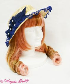 Angelic Pretty Fancy Ribbon Straw Hat in any color (preferably navy)