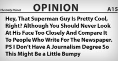 Man of Steel's Clark Kent Writes His First Newspaper Column