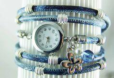 Wrap watch leather blue white tiedyed  women's by elfenstuebchen, €38.90