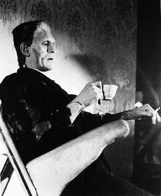 Boris Karloff on set of Bride of Frankenstein (1935)