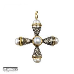 Greek handmade, Gerochristo Sterling Silver and Solid Gold Cross Pendant. Stone(s): Freshwater Pearls. This gorgeous Cross is from our Gold and Silver Crosses Collection. Greek Jewelry, Fine Jewelry, Ebay Shopping, Pearl Pendant Necklace, Gold Cross, Gold Pearl, Cross Pendant, Solid Gold, Belly Button Rings