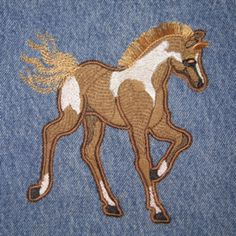 PAINTED PONY APPLIQUE  5X7 This painted pony applique is sure to please the horse fans! Artfully digiitzed for realistic effects, including an in-the-hoop fringed mane. Full photo instructions are included!  $4.00
