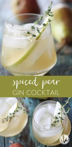 Spiced Pear Gin Cocktail is the perfect signature cocktail for Thanksgiving or any fall celebration. #pear #gin #cocktail #fall #thanksgiving #recipe