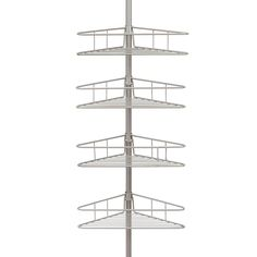 Kenney 4-Tier Pole Tension Shower Caddy in Satin Nickel